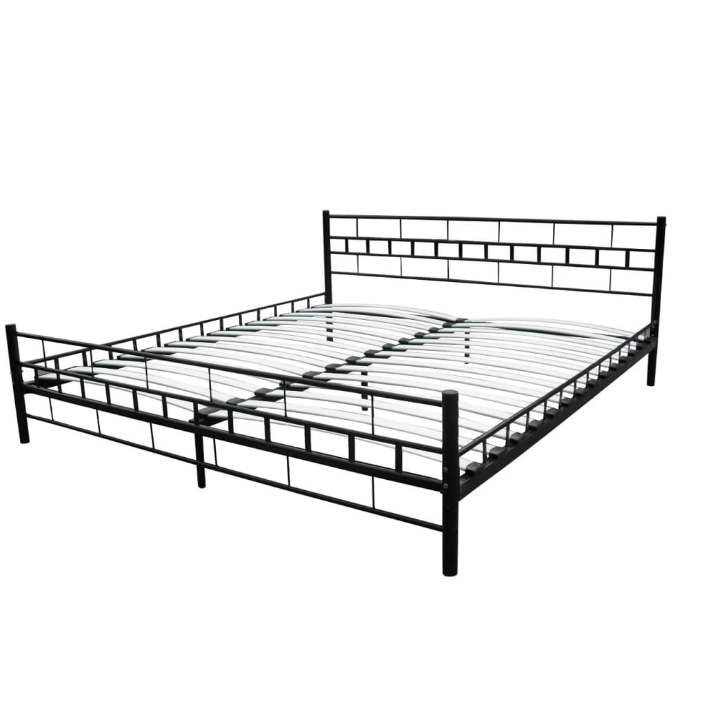 doppellbett metallbett bett metall mit lattenrost matratze schwarz wei ebay. Black Bedroom Furniture Sets. Home Design Ideas