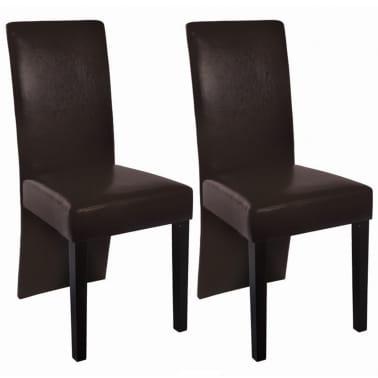 vidaxl esszimmerst hle 2 stk kunstleder dunkelbraun zum schn ppchenpreis. Black Bedroom Furniture Sets. Home Design Ideas