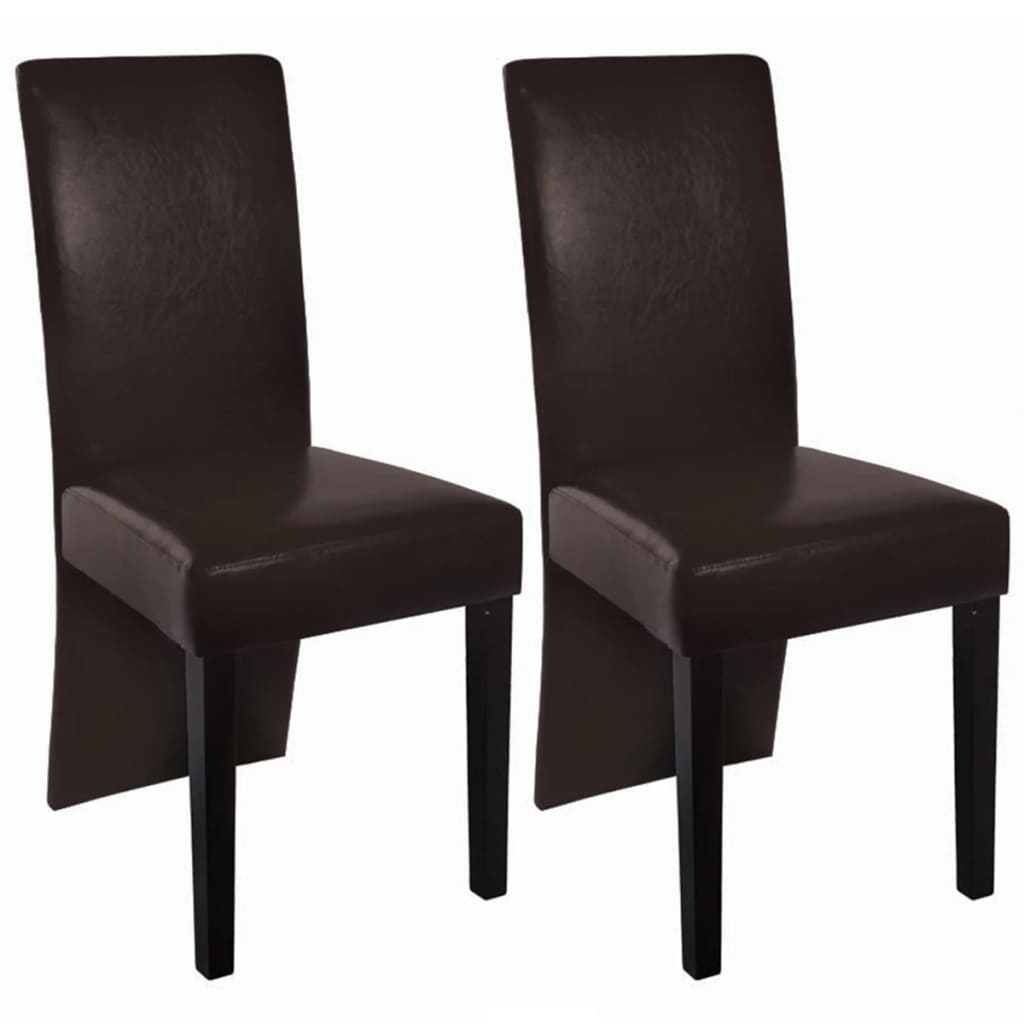 2 dining chairs faux leather dark brown