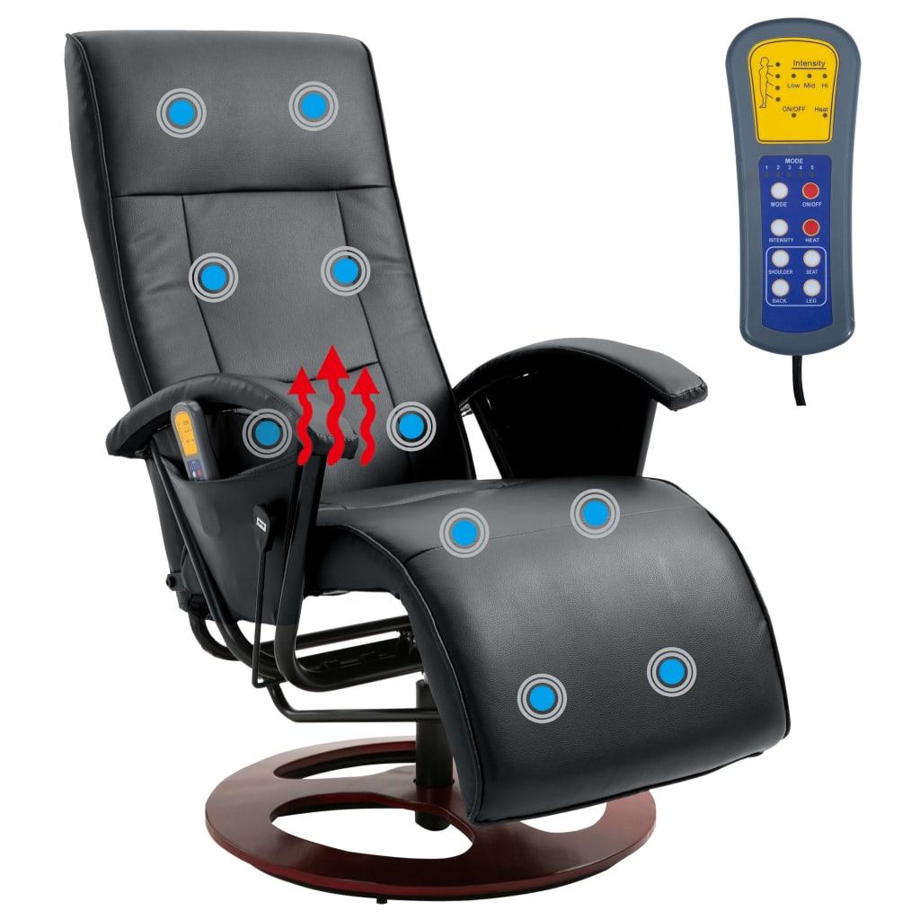 acheter fauteuil de relaxation dossier chauffant noir pas cher. Black Bedroom Furniture Sets. Home Design Ideas