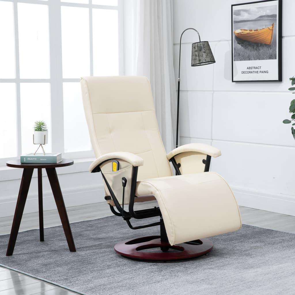 vidaXL Elektromos Masszázsfotel / TV szék krém/fehér