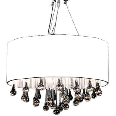lustre moderne plafonnier 3 feux 85 pampilles cristal. Black Bedroom Furniture Sets. Home Design Ideas