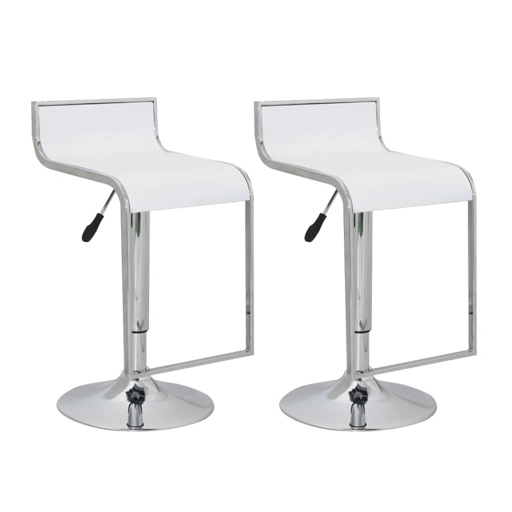 Bar Stool Low Back White Abs Plastic Set Of 2 Www