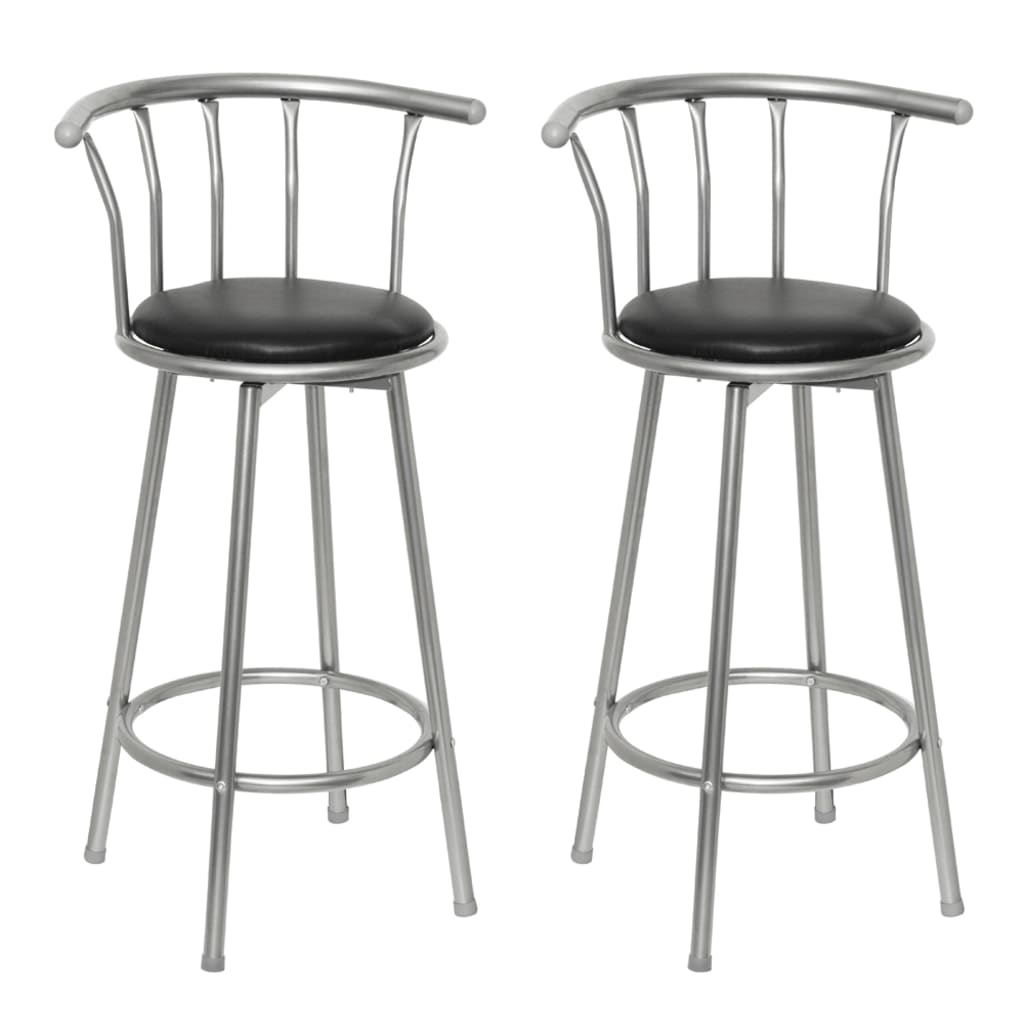 2 Bar stools leather steel wwwvidaxlcomau : image from www.vidaxl.com.au size 1024 x 1024 png 466kB