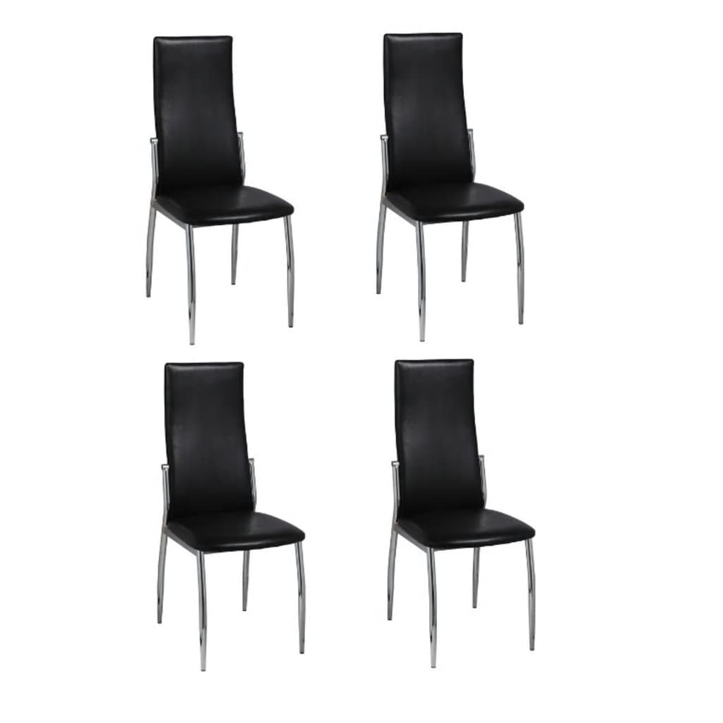 vidaXL 4 Dining chairs chrome black leather
