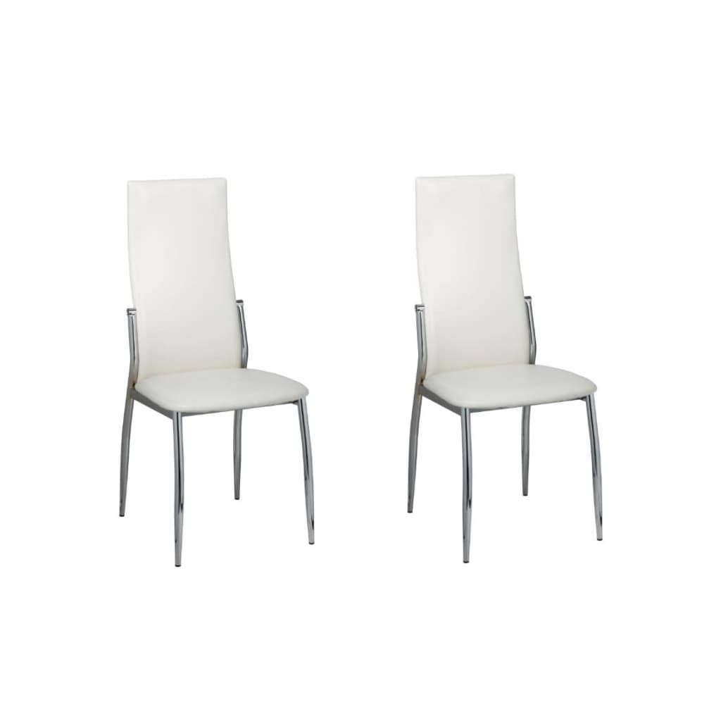 vidaXL 2 Dining chairs chrome white leather