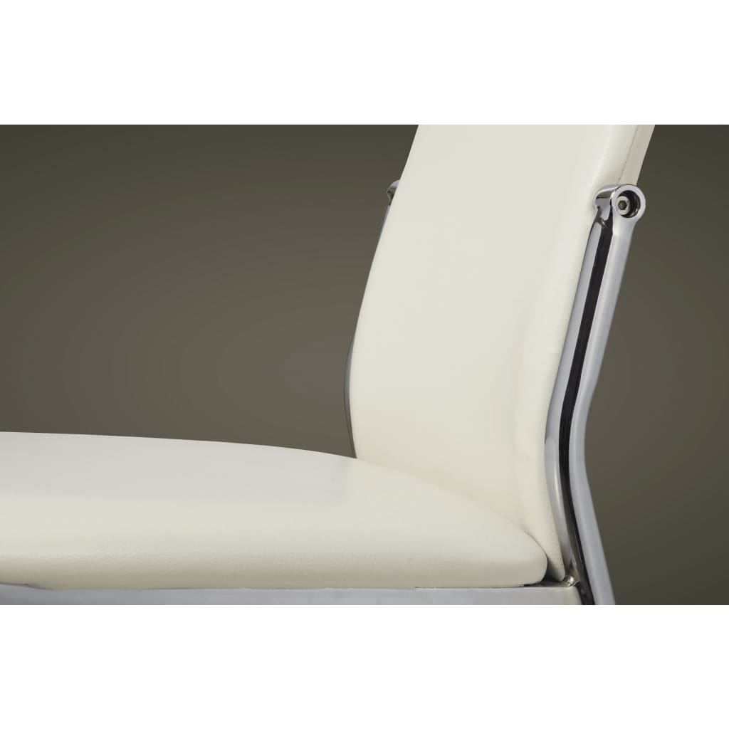 4 dining chairs chrome white leather for White chrome dining chairs