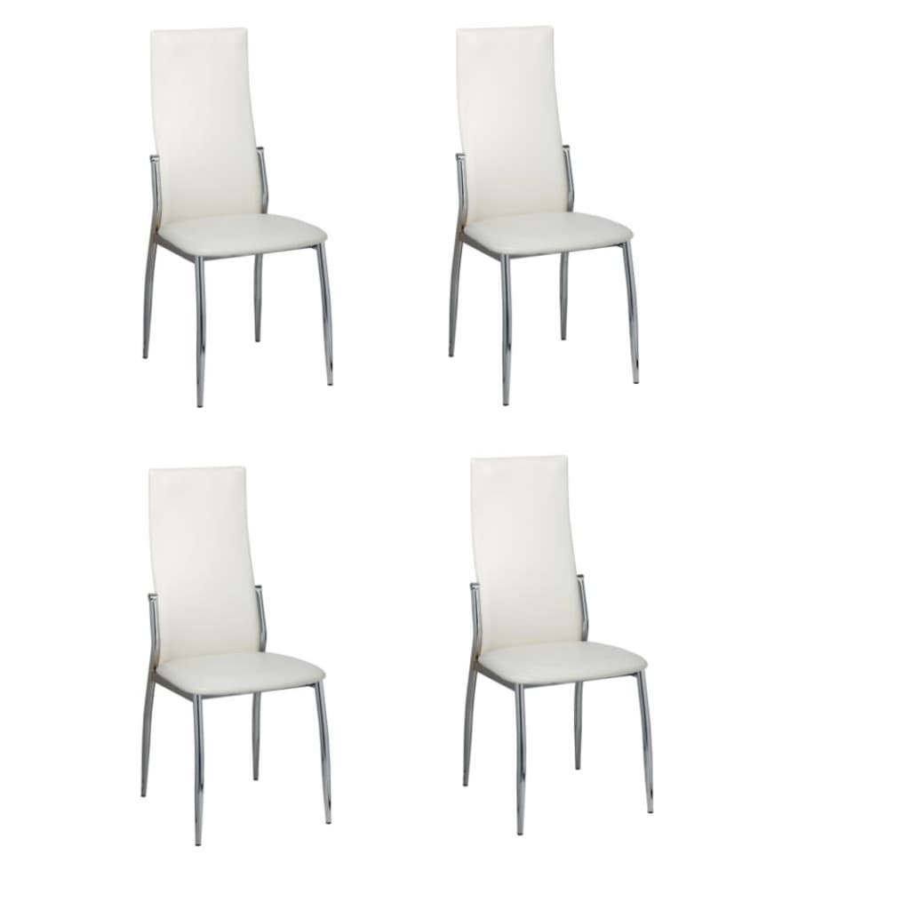 vidaXL 4 Dining chairs chrome white leather