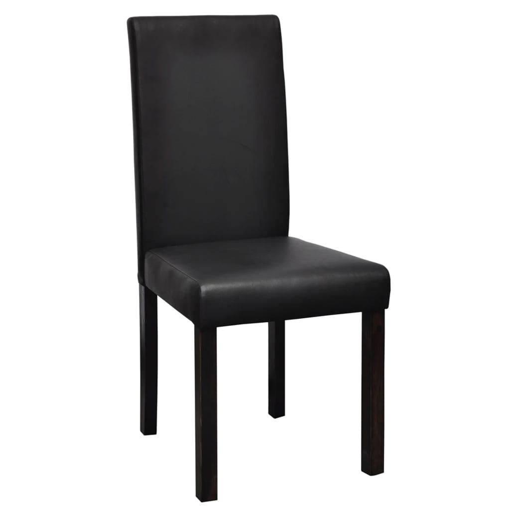 Vidaxl 2 sillas de comedor negras de cuero artificial - Sillas en cuero ...