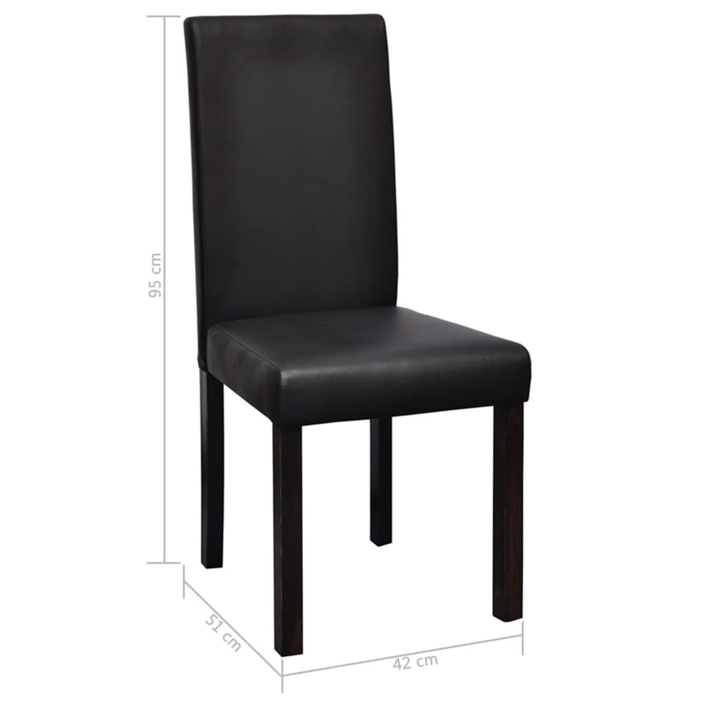 Vidaxl 2 sillas de comedor negras de cuero artificial for Sillas cocina negras