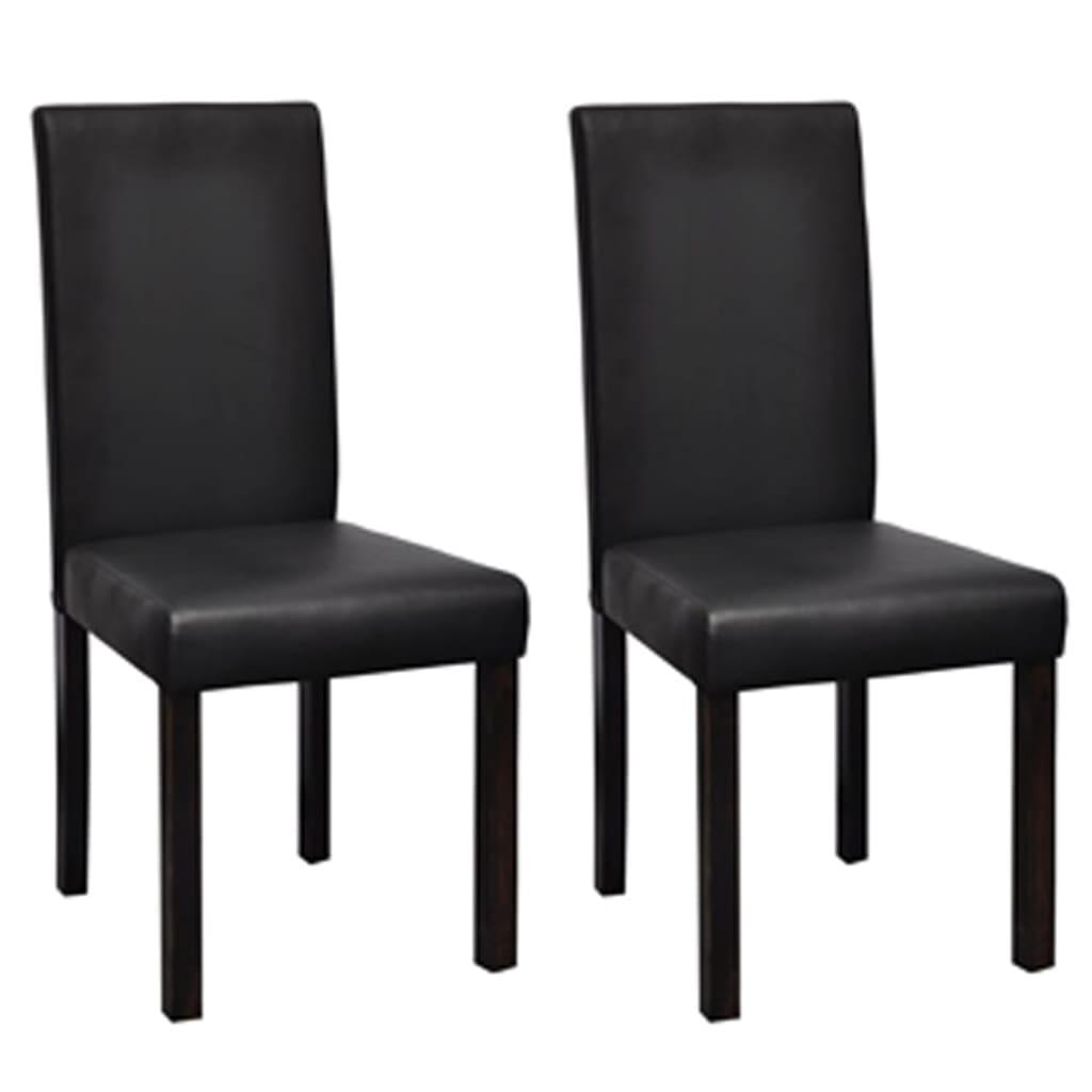 2 pz sedie classiche in legno e ecopelle nere per salotto for Sedie per sala da pranzo classiche