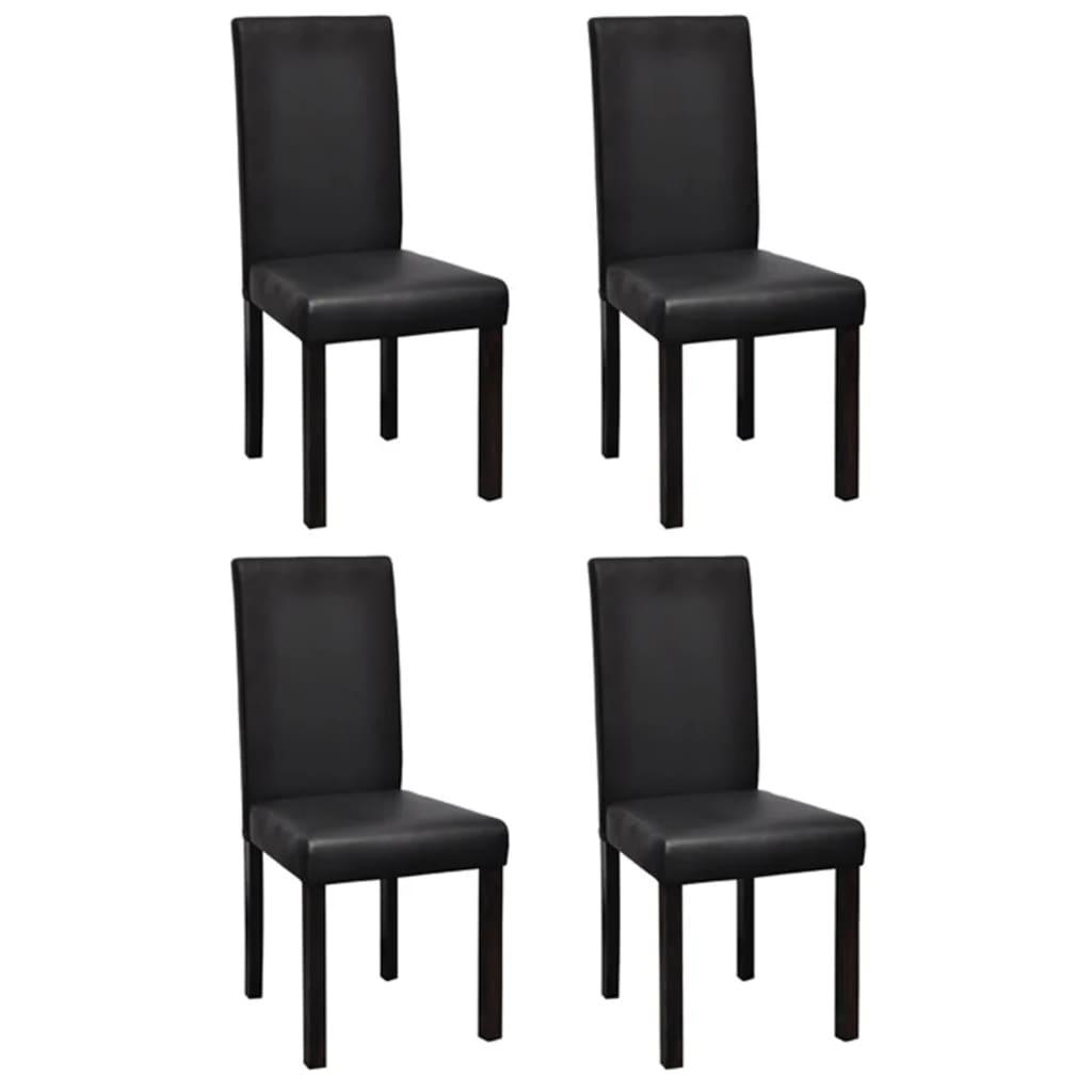 vidaXL Krzesła do jadalni 4 szt. czarna, sztuczna skóra