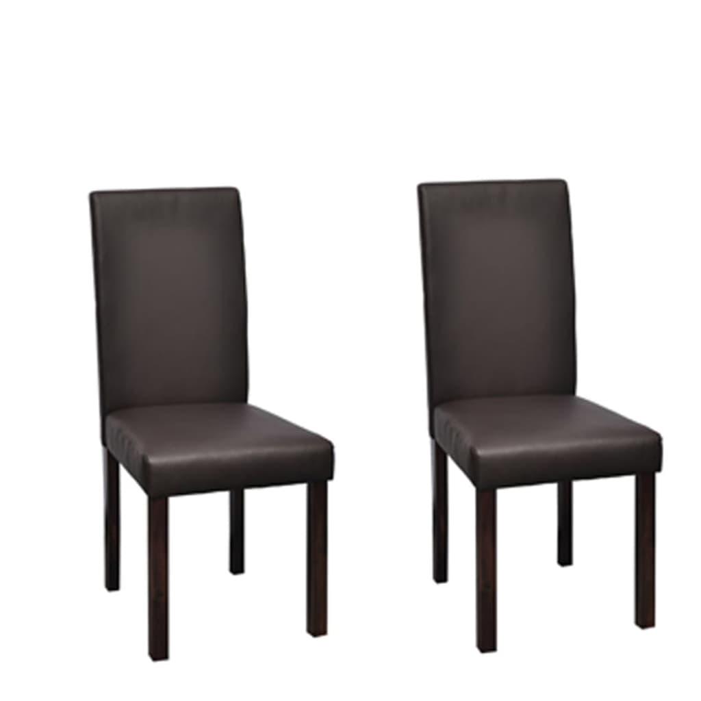 vidaXL Krzesła do jadalni 2 szt. brązowa, sztuczna skóra