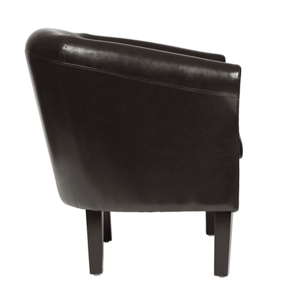 acheter fauteuil chesterfield simili cuir marron repose pieds pas cher. Black Bedroom Furniture Sets. Home Design Ideas