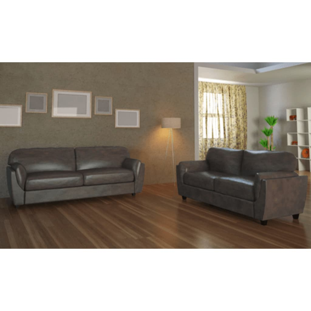 der ledermix couch 2 sitzer 3 sitzer braun online shop. Black Bedroom Furniture Sets. Home Design Ideas
