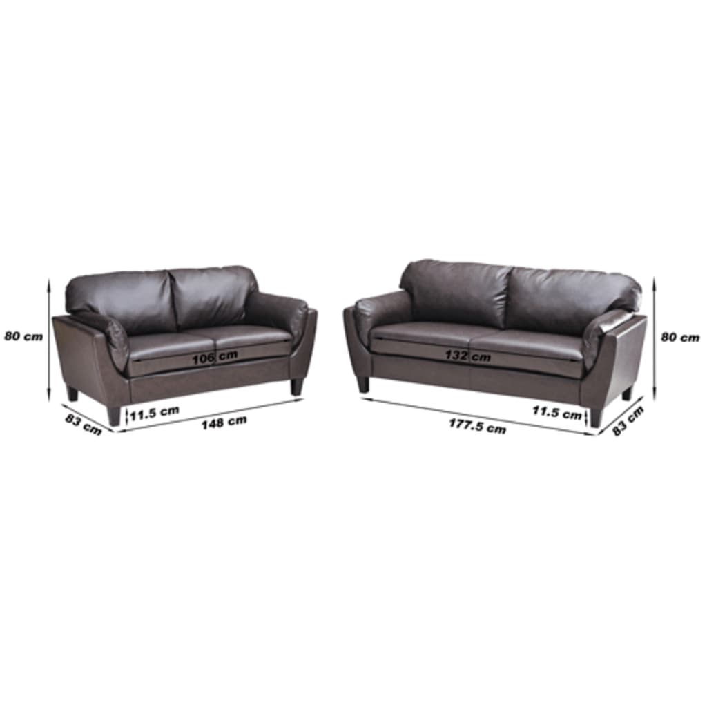 ledermix couch 2 sitzer 3 sitzer braun g nstig kaufen. Black Bedroom Furniture Sets. Home Design Ideas