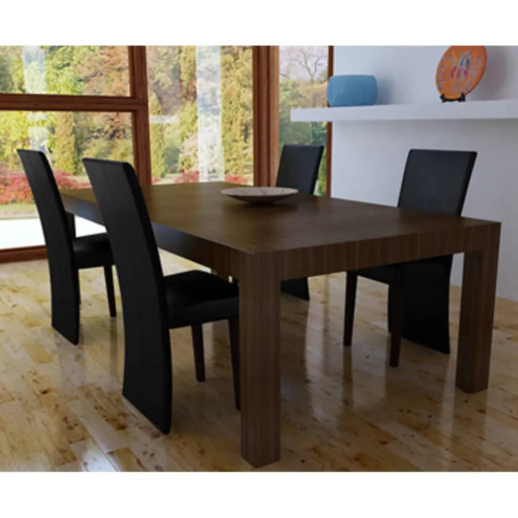 Vidaxl set 4 sedie sala da pranzo nere for Sedie da sala da pranzo