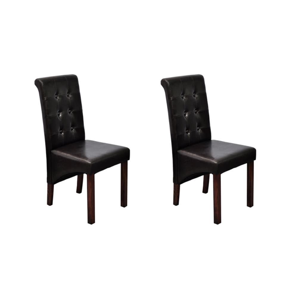vidaXL Set of 2 Antique Brown Artificial Leather Dining Chairs
