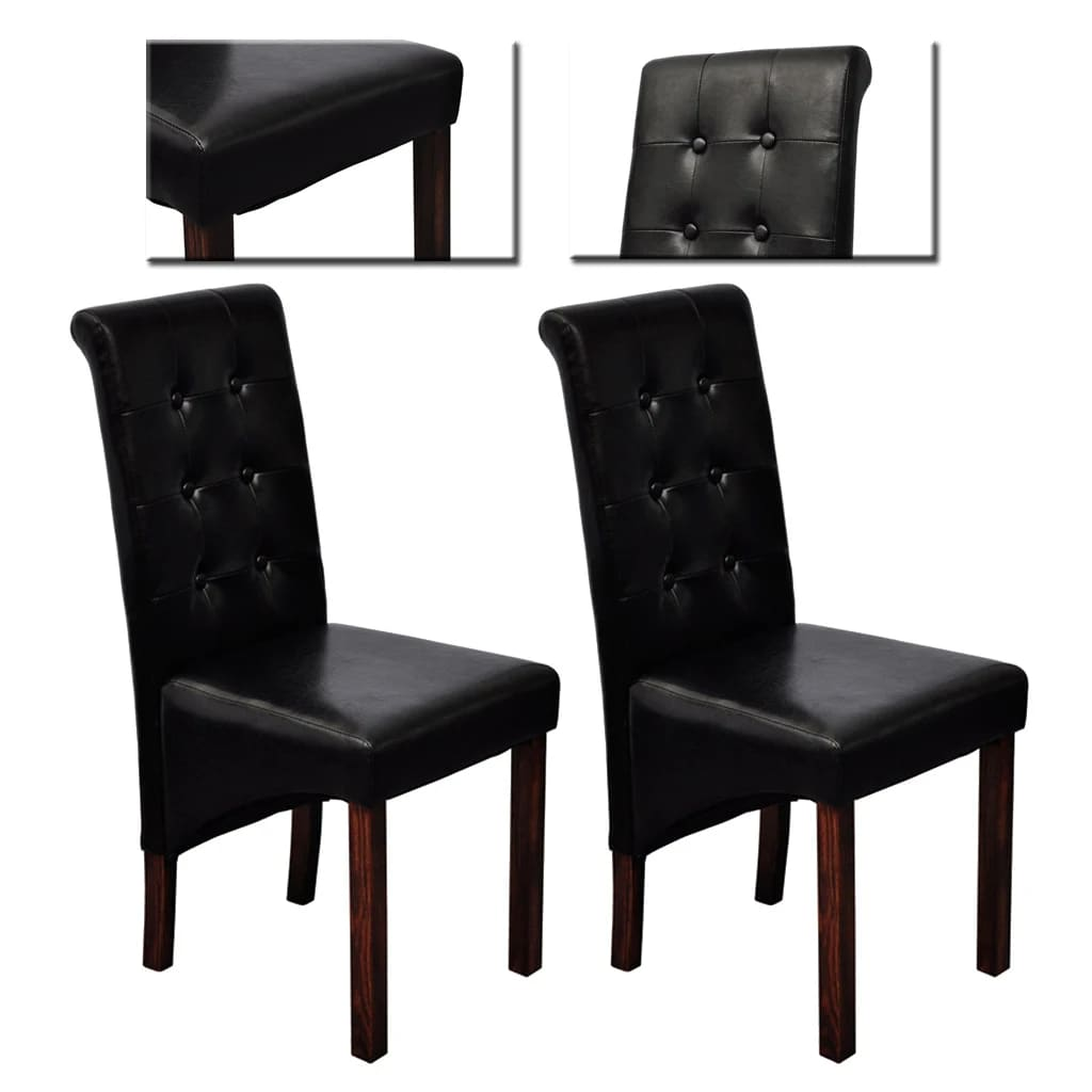 La boutique en ligne chaise noire lot de 2 en simili for Chaise en simili cuir