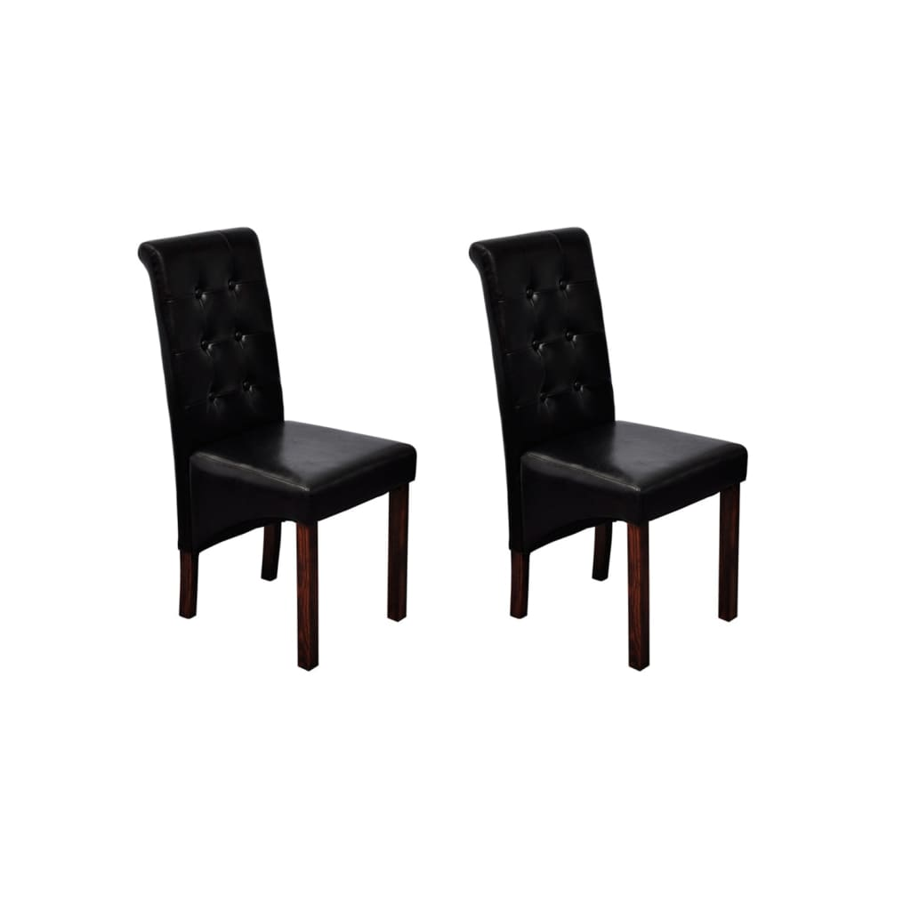 la boutique en ligne chaise noire lot de 2 en simili cuir. Black Bedroom Furniture Sets. Home Design Ideas