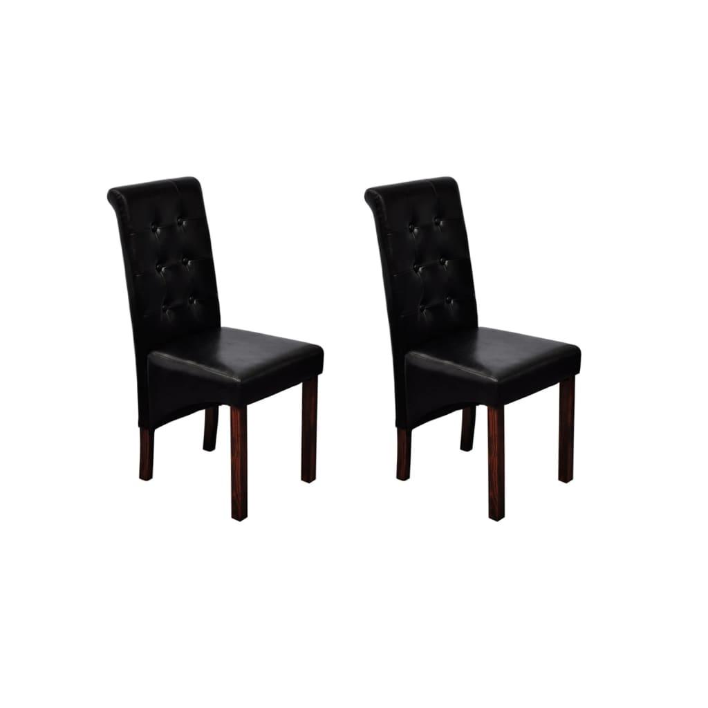 Acheter chaise noire lot de 2 en simili cuir pas cher for Chaise en simili cuir