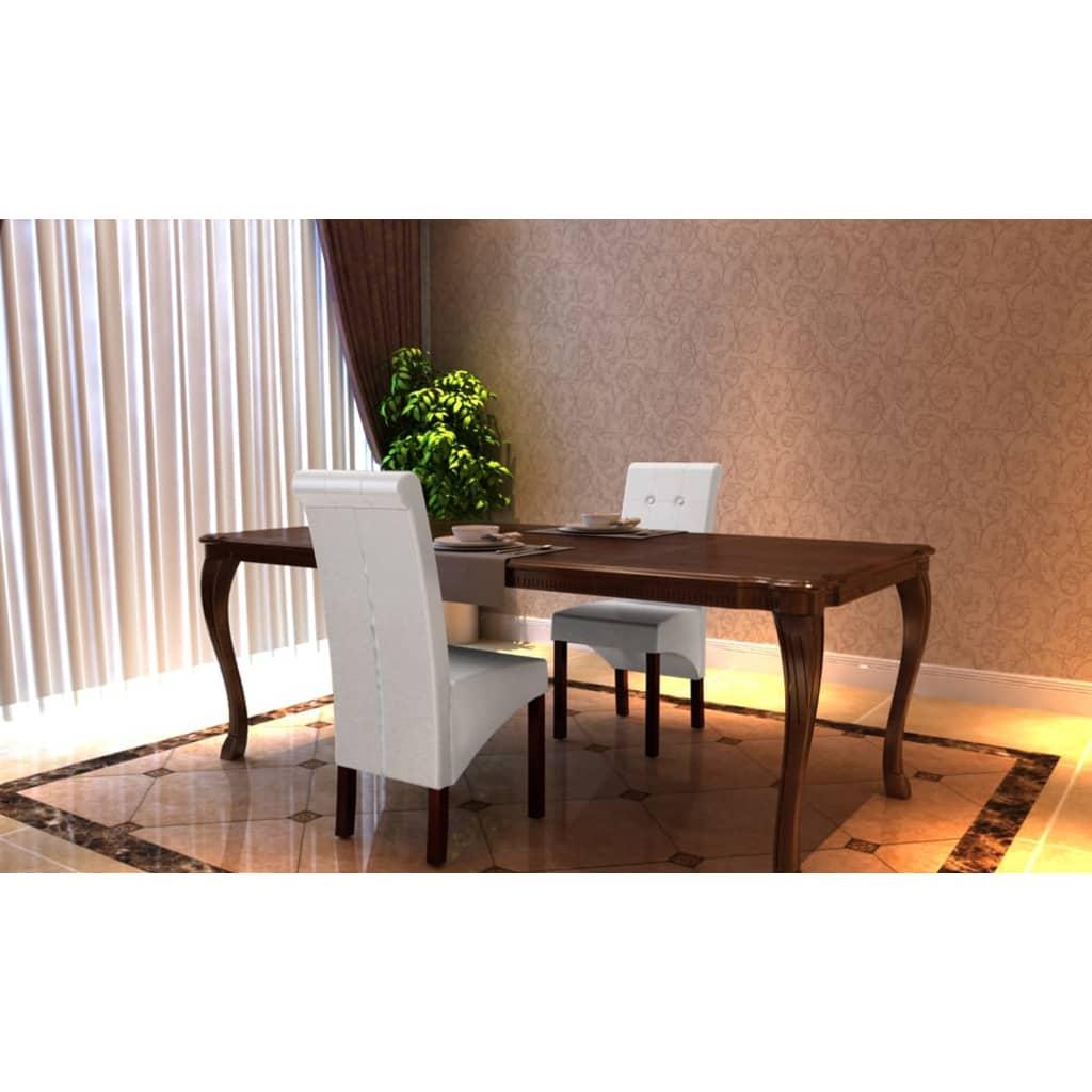 Vidaxl 2 pz sedie sala da pranzo in pelle artificiale for Sedie bianche sala da pranzo