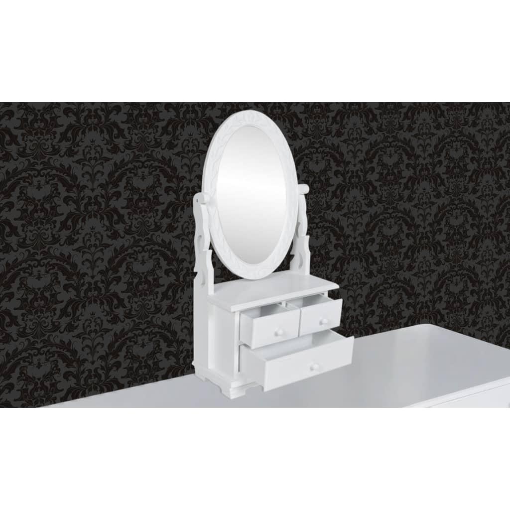 Acheter coiffeuse en bois avec 3 tiroirs et miroir for Miroir pivotant