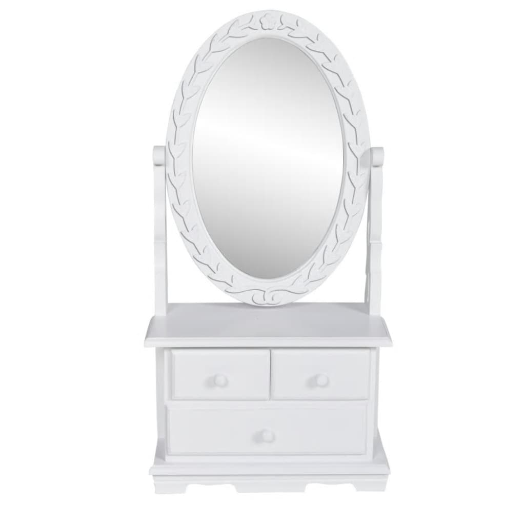 vanity makeup table with oval swing mirror. Black Bedroom Furniture Sets. Home Design Ideas
