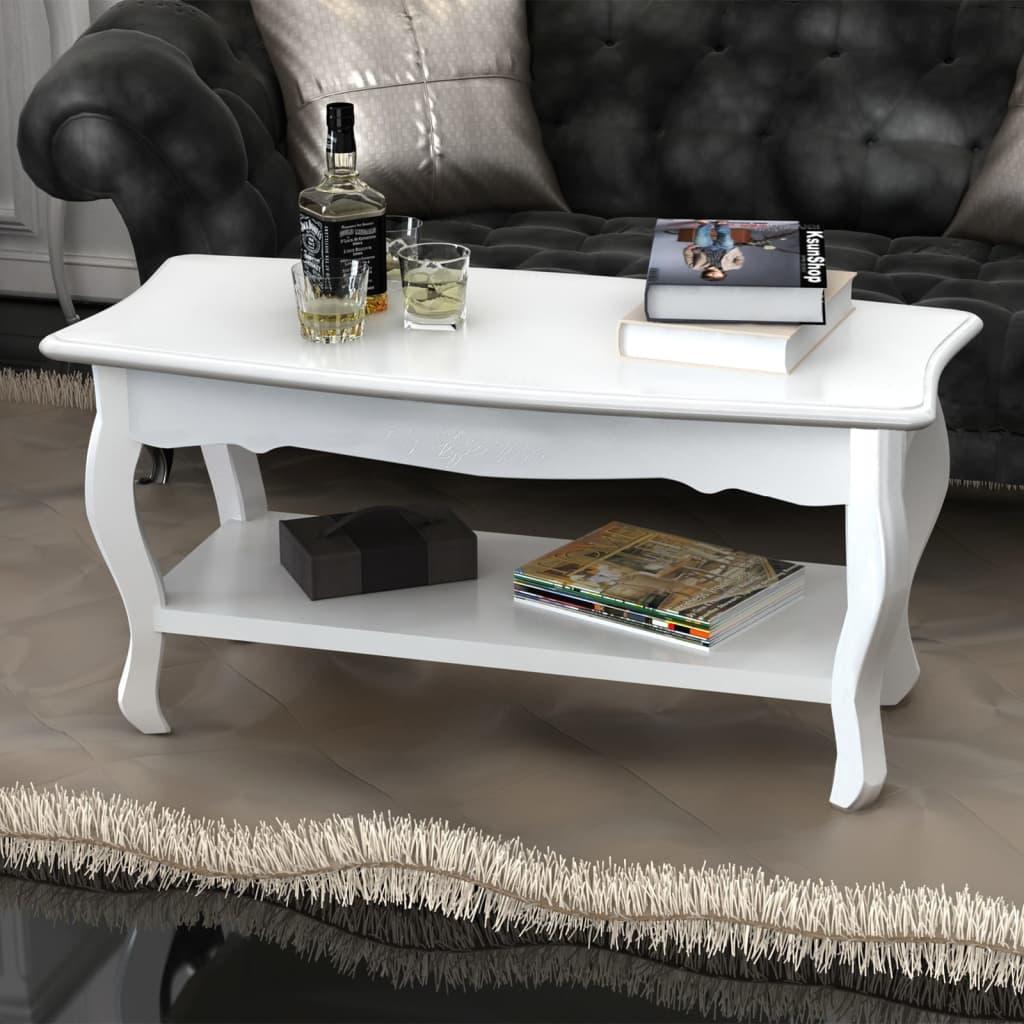 Tavolino salotto tavolino rettangolare con 2 ripiani for Salotto bianco