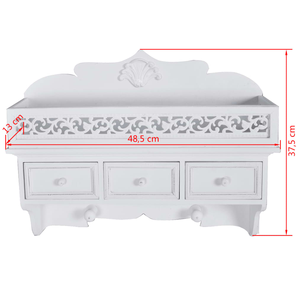 NEW-WALL-SHELF-WITH-DRAWERS-HOOK-STORAGE-RACK-WALL-MOUNT-DISTRESSED-WHITE-FINISH