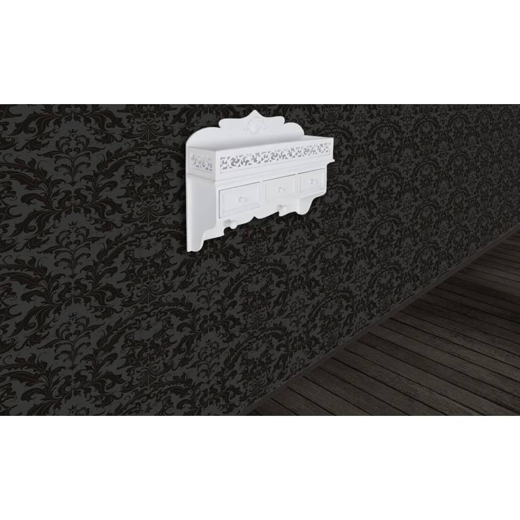 Wall-Shelf-With-Drawers-Hook-Storage-Rack-Wall-Mount-White-Finish