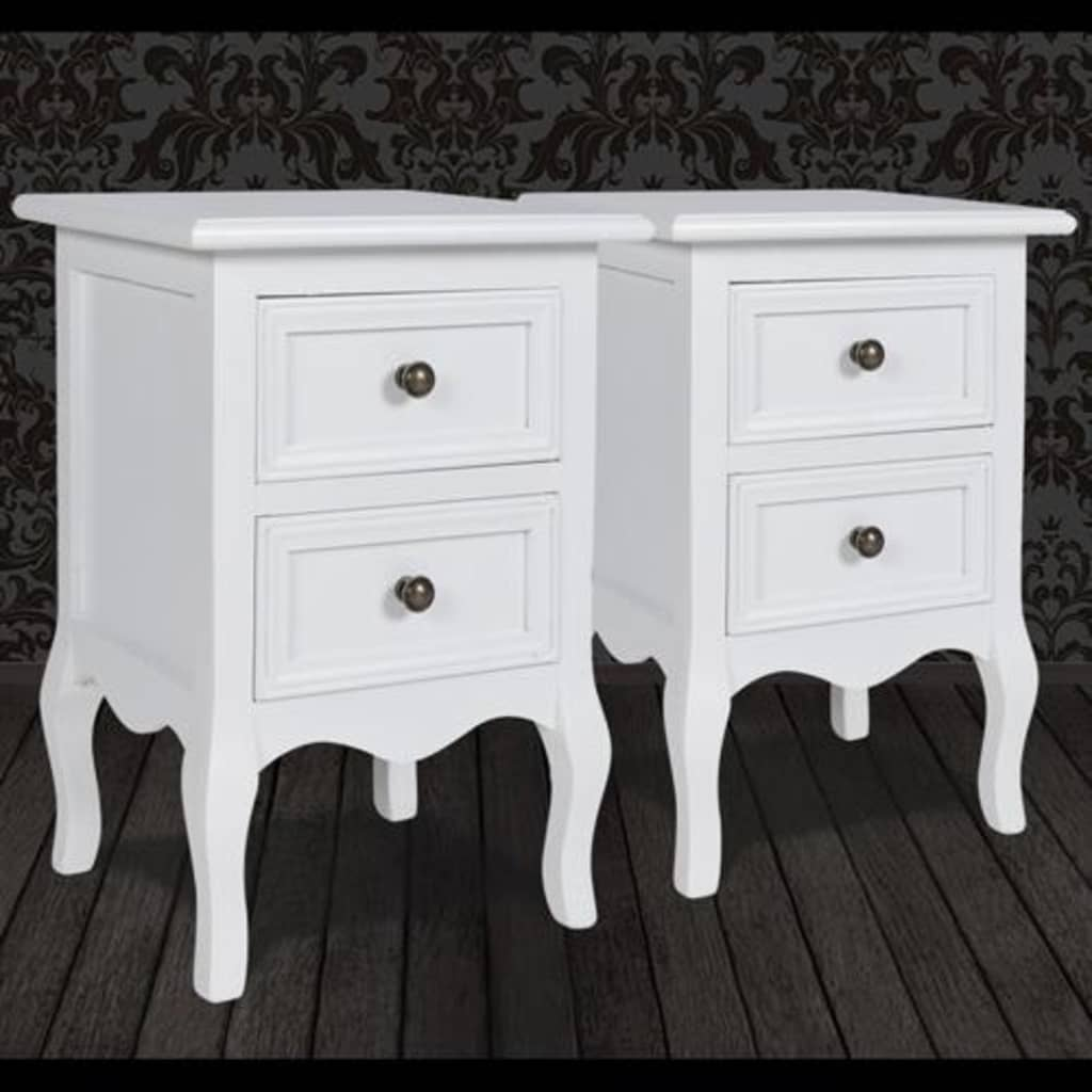 Set-Of-2-Two-White-Cabinets-Nightstand-Bed-Stands-French-Style-Mdf-Storage