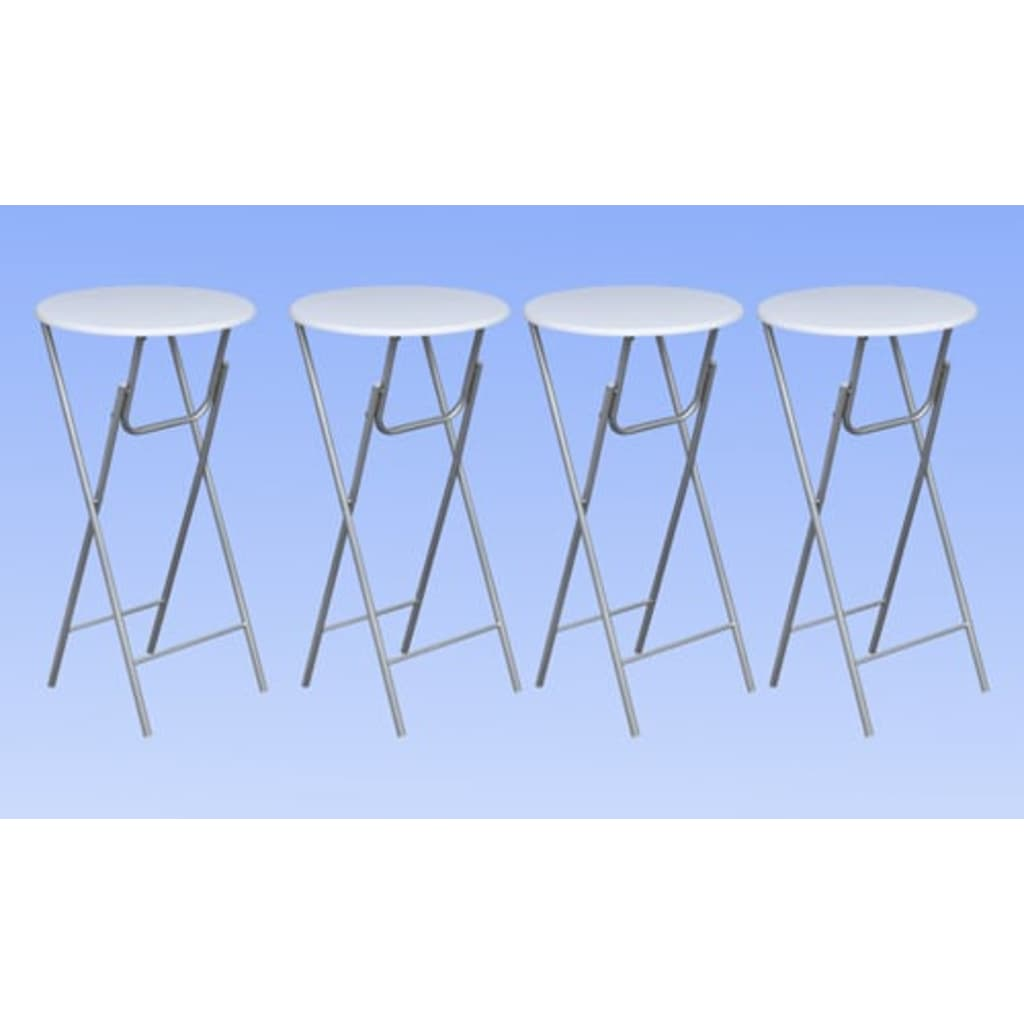 la boutique en ligne lot de 4 tables de bar ronde haute blanche pliable. Black Bedroom Furniture Sets. Home Design Ideas