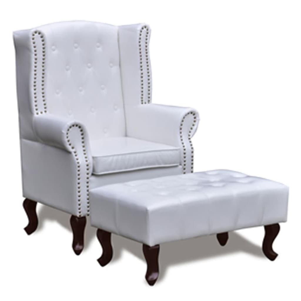 acheter fauteuil chesterfield avec ottoman assorti blanc. Black Bedroom Furniture Sets. Home Design Ideas