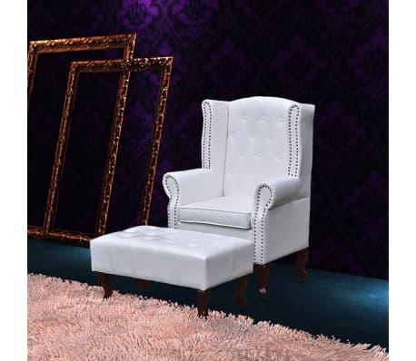 chesterfield ohrensessel mit hocker wei g nstig kaufen. Black Bedroom Furniture Sets. Home Design Ideas