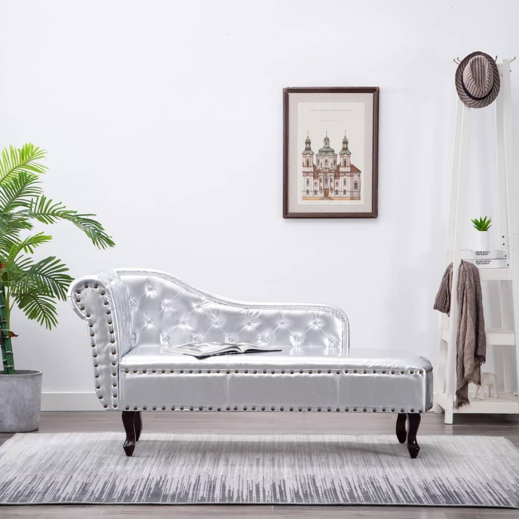 vidaXL Chesterfield társalgó/kanapé ezüst