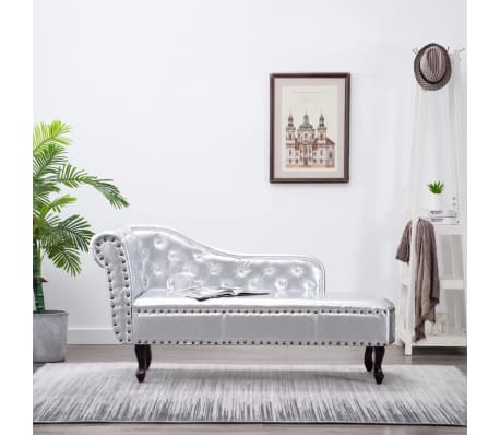 recamiere chaiselongue chesterfield silber. Black Bedroom Furniture Sets. Home Design Ideas