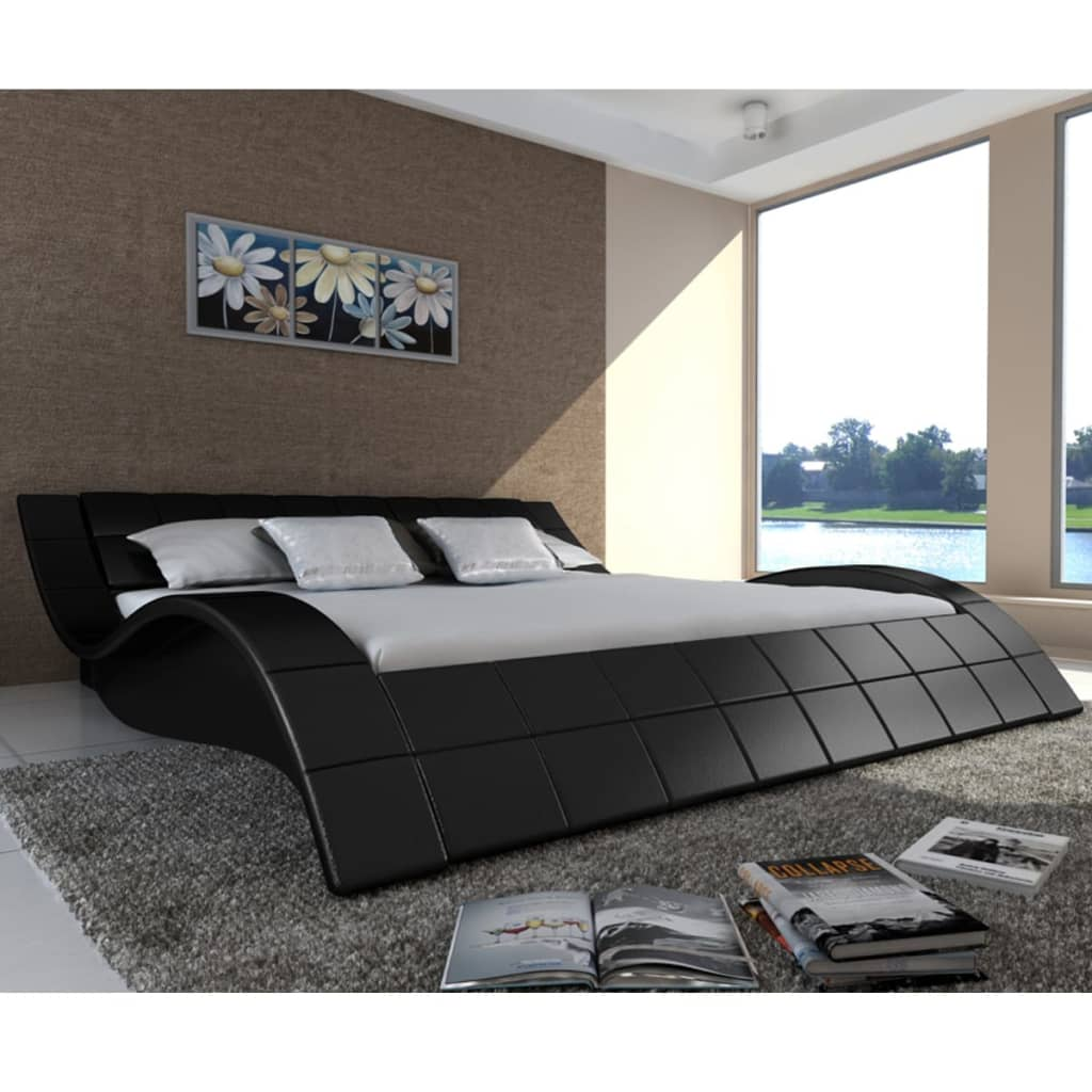 polsterbett mit lattenrost 180x200 cm welle schwarz im vidaxl trendshop. Black Bedroom Furniture Sets. Home Design Ideas