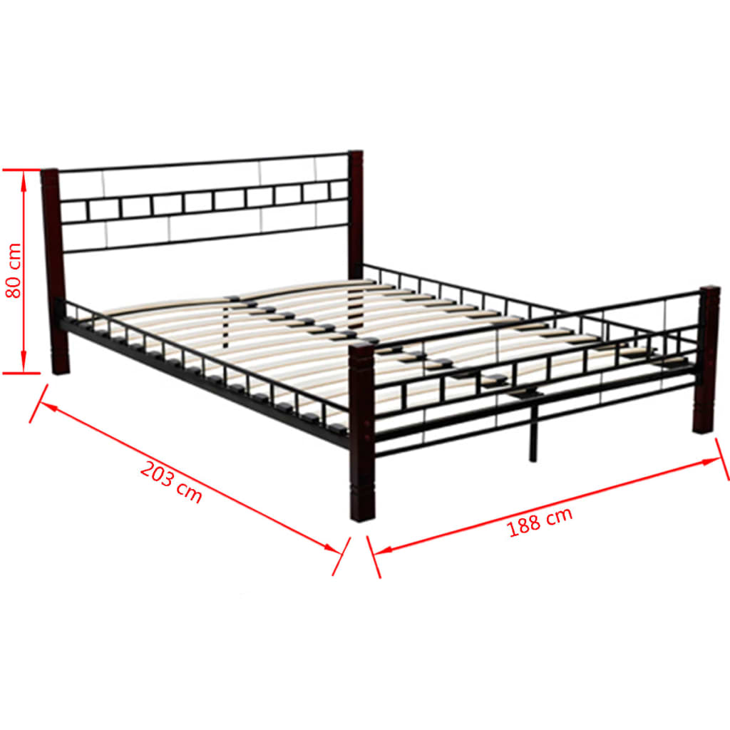 new black metal bedframe bed frame king size 180 x 200 cm slat frame included ebay. Black Bedroom Furniture Sets. Home Design Ideas