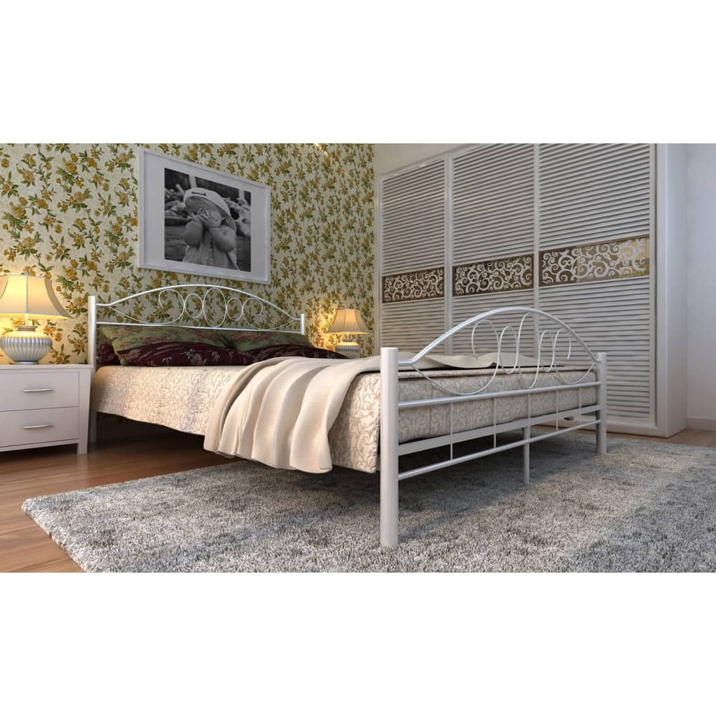 metallbett doppellbett bett schwarz wei metall mit lattenrost matratze ebay. Black Bedroom Furniture Sets. Home Design Ideas