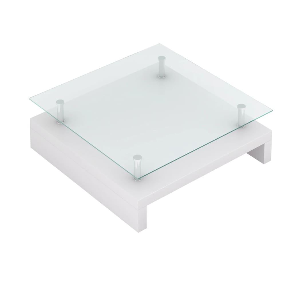 Acheter table basse de salon carr e verre blanc laqu pas cher - Table basse carree blanc laque ...