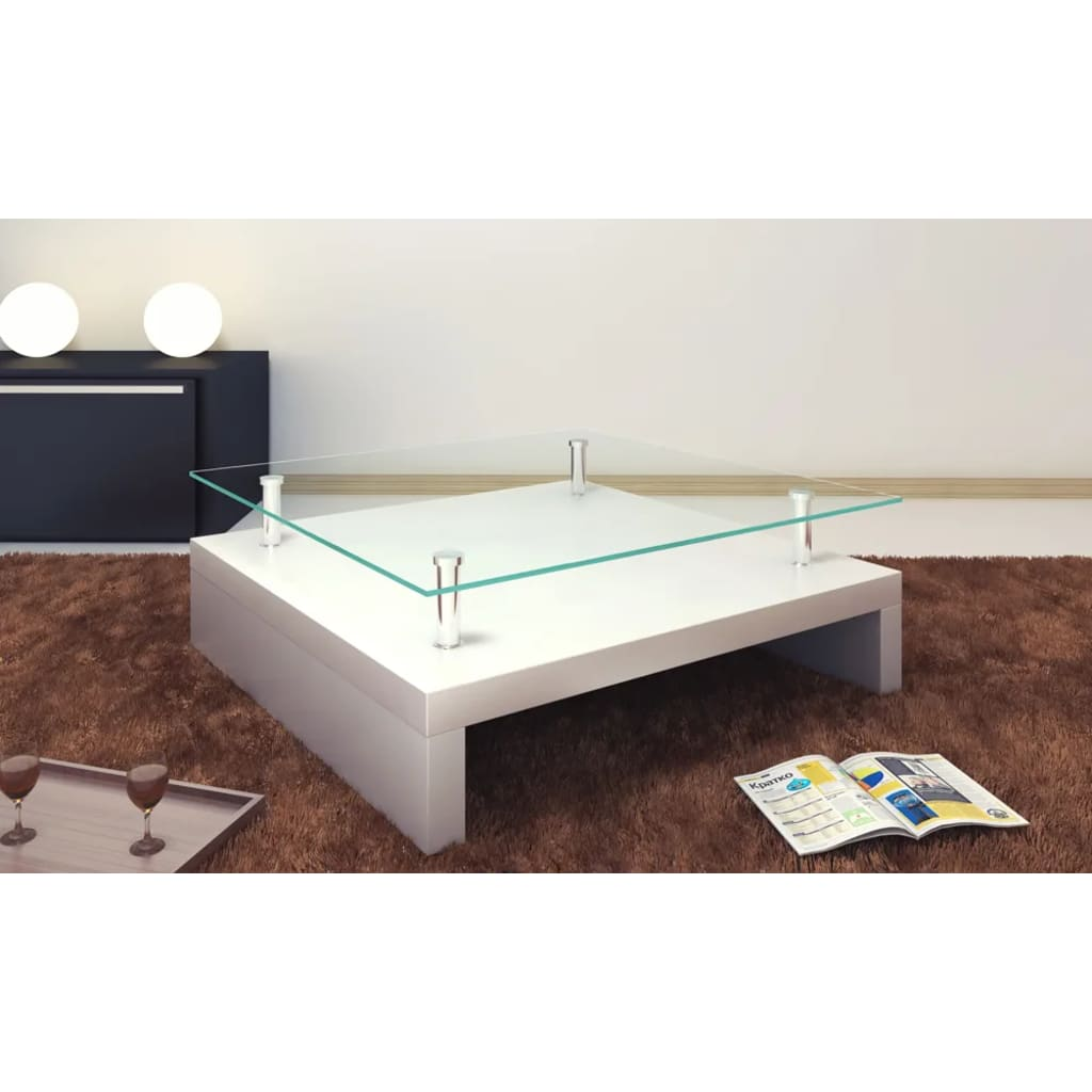 La boutique en ligne table basse de salon carr e verre blanc laqu - Table en verre carree ...