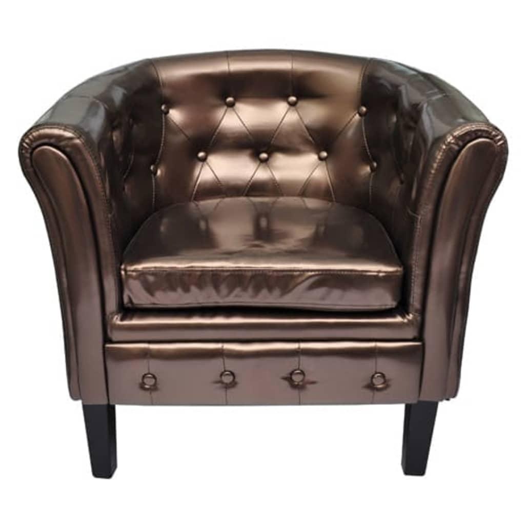 vidaXL Półokrągły fotel ze skóry syntetycznej, brązowy