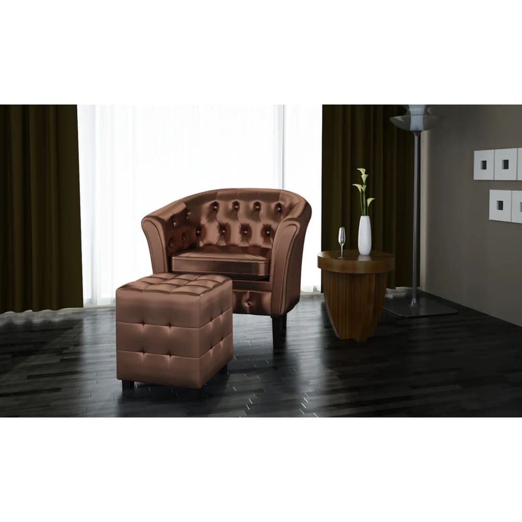 Chesterfield leder sessel mit hocker bronze g nstig kaufen for Sessel auf rollen leder