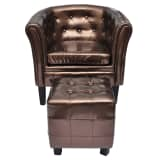 Chesterfield Leder Sessel mit Hocker bronze