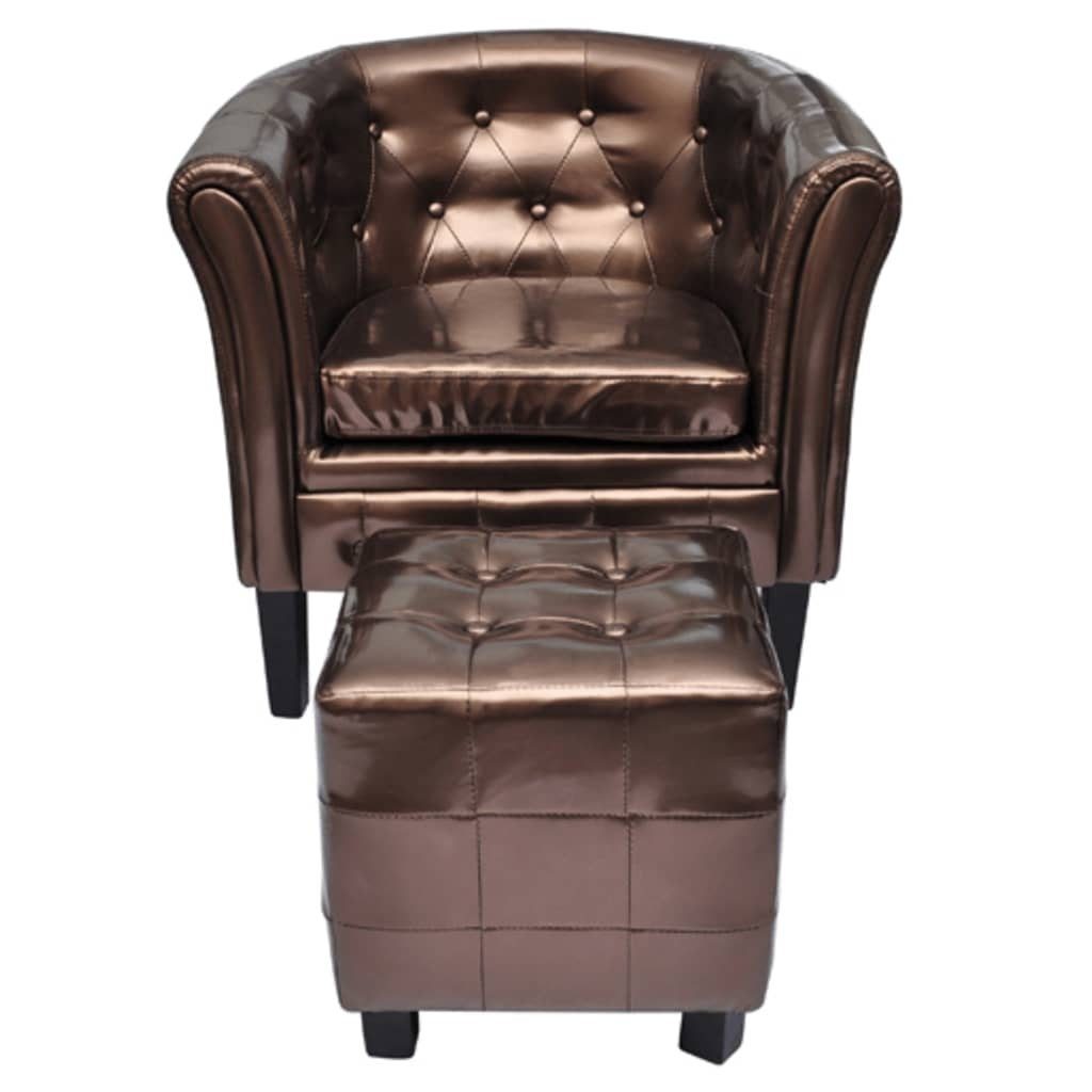 der chesterfield leder sessel mit hocker bronze online. Black Bedroom Furniture Sets. Home Design Ideas