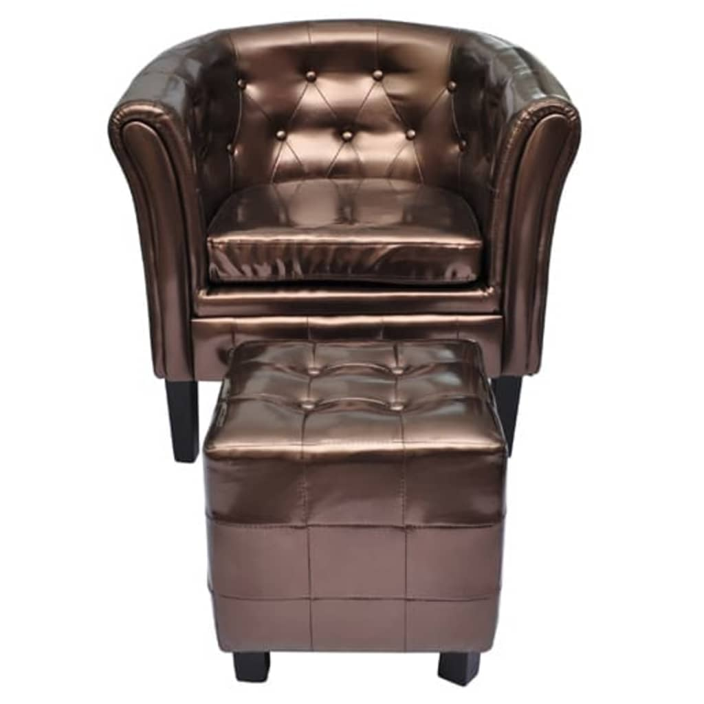 vidaXL barna műbőr fotel lábzsámollyal