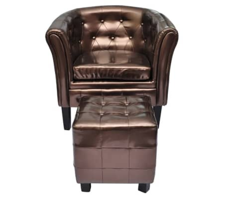 der chesterfield leder sessel mit hocker bronze online shop. Black Bedroom Furniture Sets. Home Design Ideas