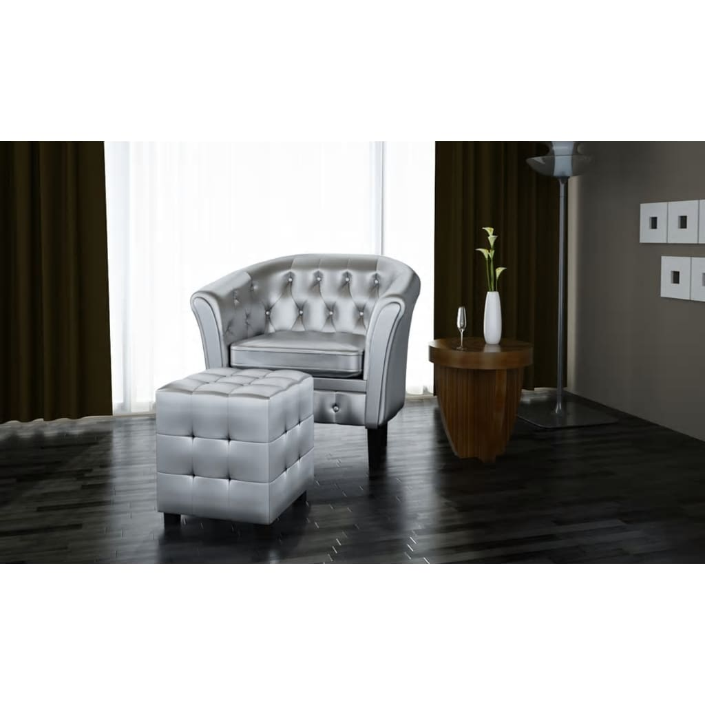 der chesterfield leder sessel mit hocker silber online. Black Bedroom Furniture Sets. Home Design Ideas