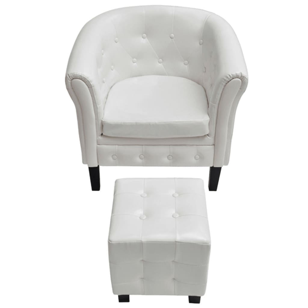 la boutique en ligne fauteuil chesterfield blanc avec repose pieds. Black Bedroom Furniture Sets. Home Design Ideas
